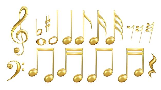 Musical notes symbols in golden color set