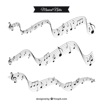 Musical notes with wavy staves