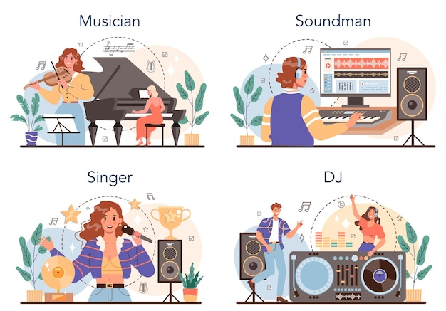 음악 직업 세트입니다. 음악가, 사운드 디자이너, dj 및 가수. 전문 장비로 음악을 만드는 젊은 연주자. 취미와 현대 직업의 컬렉션입니다. 격리 된 벡터 일러스트 레이 션