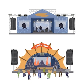 人々が踊るミュージカル野外フェスティバルステージ。フラットイラスト。白で隔離。