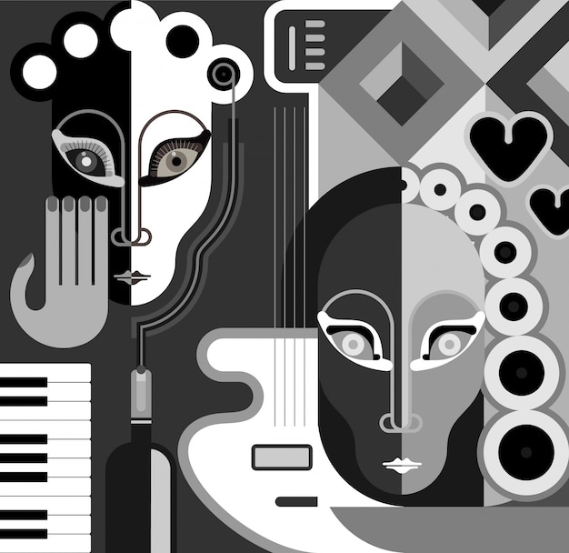 Musical party - abstract vector illustration. black and white stylized collage. fine art.