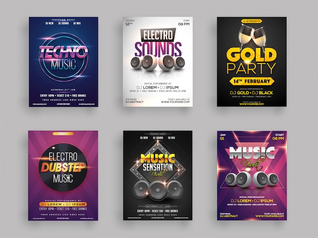 Musical party flyer or template collection