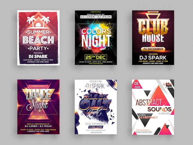 Musical party template for flyer design