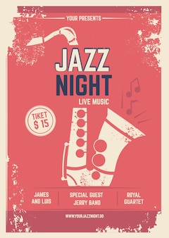 Музыкальный плакат в стиле ретро. приглашение на музыкальный фестиваль. шаблон с местом для вашего текста. джазовый плакат музыка, музыкальная группа приглашение иллюстрация