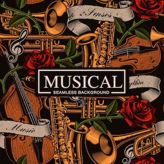 Musical seamless background in tattoo style with different musical instruments, roses and vintage ribbon. text, colors are on the separate groups.