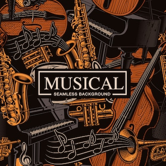 Musical seamless background with different musical instruments, jazz art. colors, are on the separate groups.