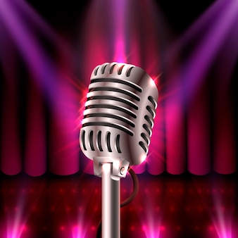 The musical show, microphone on the red scene. vector illustration