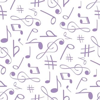 배너 포스터 의류 넥타이 셔츠에 대 한 원활한 패턴 음악적 배경에서 뮤지컬 기호