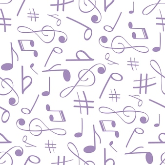 Musical symbols in seamless pattern musical background for banner poster clothing tie shirt