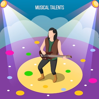 Musical talents isometric composition