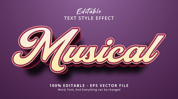 Musical text on headline event style, editable text effect