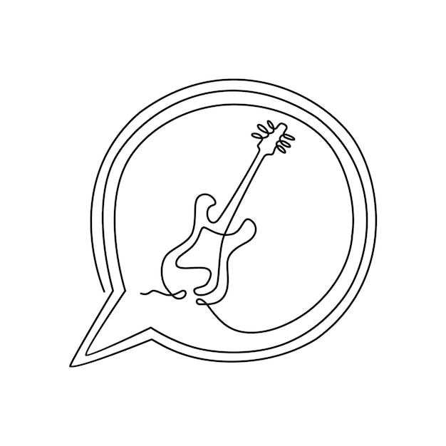 エレクトリックギターの楽器1本の連続線画