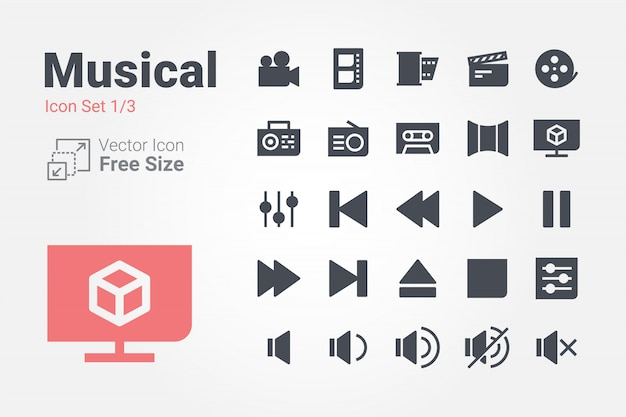 Musical vector icon collection with solid style