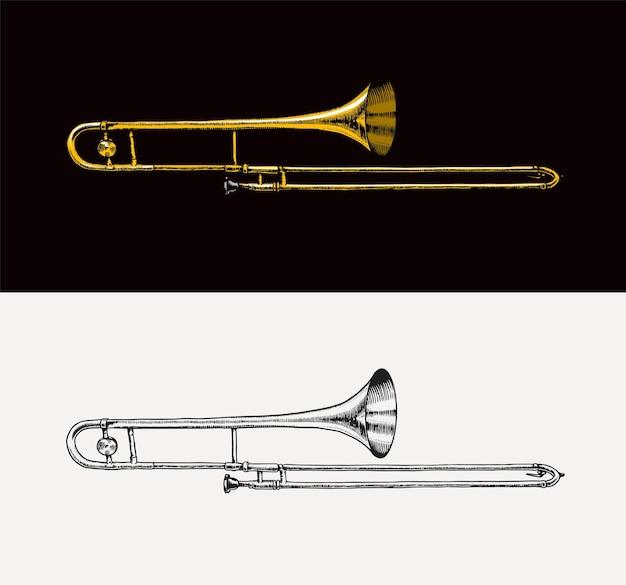 Музыкальный духовой джазовый инструмент тромбон векторная иллюстрация классическая труба в стиле контура каракули