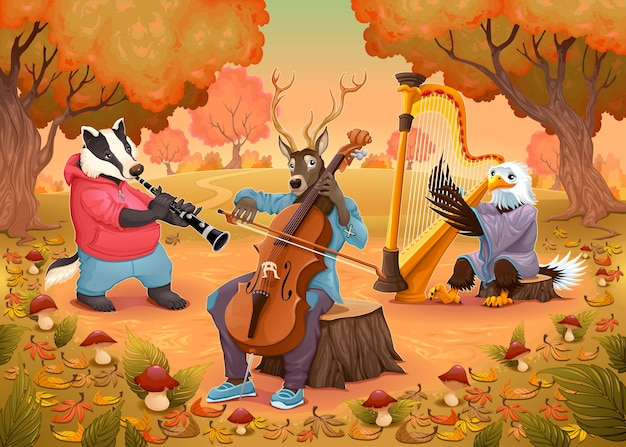 Музыкант животных в лесу мультфильм и векторные иллюстрации