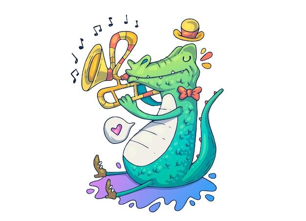 음악가 악어. 창의적인 만화 그림입니다.