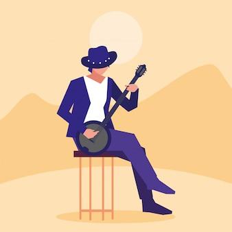 Musician man banjo playing instrument