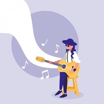 어쿠스틱 기타 연주 음악가 남자