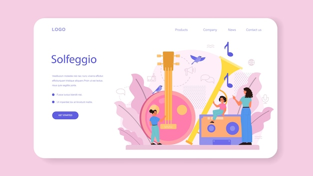 Musician and music course web banner or landing page