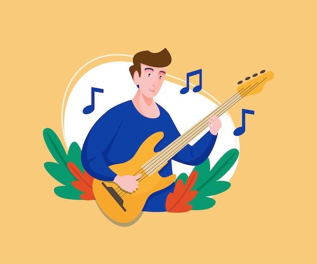 Музыкант играет на бас-гитаре