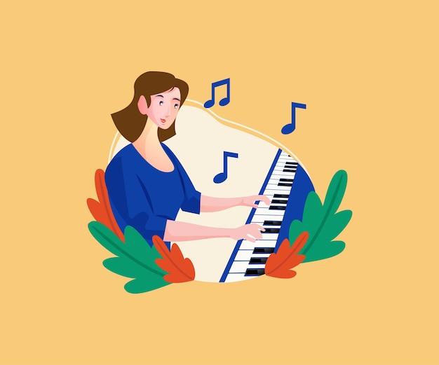 Музыкант играет на клавишном инструменте фортепиано
