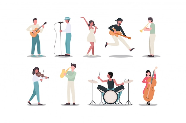 Musician persons are singing. vector characters of singers.