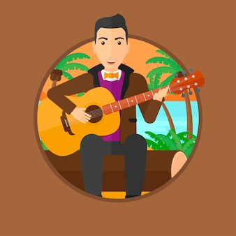 Musician playing acoustic guitar.