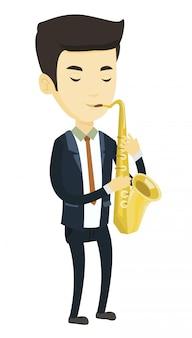 Музыкант играет на саксофоне.