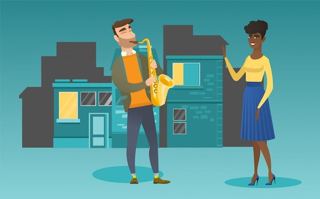 Musician playing the saxophone for his girlfriend.