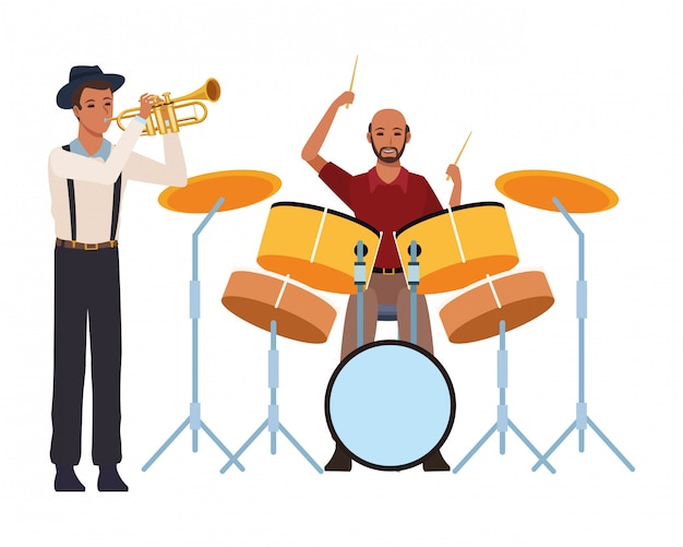 Musician playing trumpet and drums