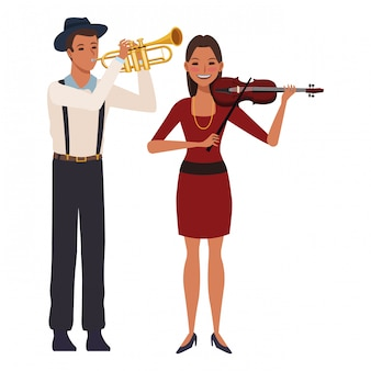 Musician playing trumpet and violin