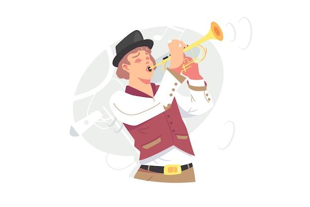 Музыкант играет джазовую музыку на трубе векторные иллюстрации. исполнитель оркестра с плоским стилем золотого инструмента трубы. музыкальное представление, концепция хобби. изолированные на белом фоне