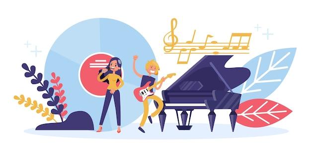 Концепция профессии музыканта. музыкальное представление на сцене