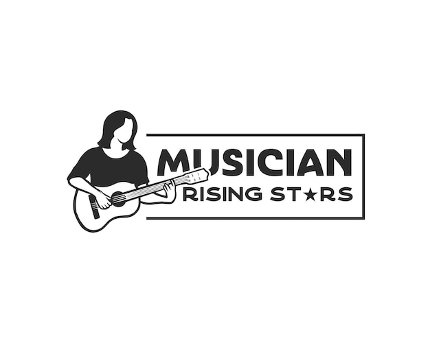 A musician strumming a guitar logo logo for talent show rising star or guitar lesson logo design