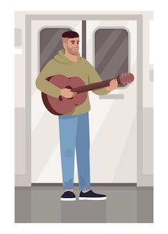 電車のセミフラットベクトルイラストでギターを持つミュージシャン。ギタリストは公共交通機関で演奏します。通勤時に楽器を持った男性歌手。商用利用のためのメトロ2d漫画のキャラクター