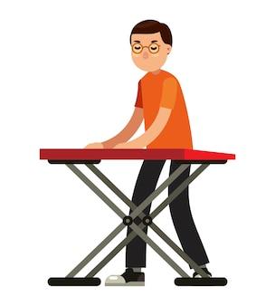 Музыкант с клавиатурой в стиле векторных иллюстраций