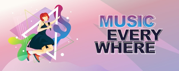 Musician with music instrument banner