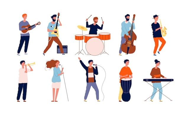 Музыканты-персонажи. творческие исполнители в разных позах играют на музыкальных инструментах и поют. векторные музыканты. человек с инструментом, концерт музыкального представления иллюстрации