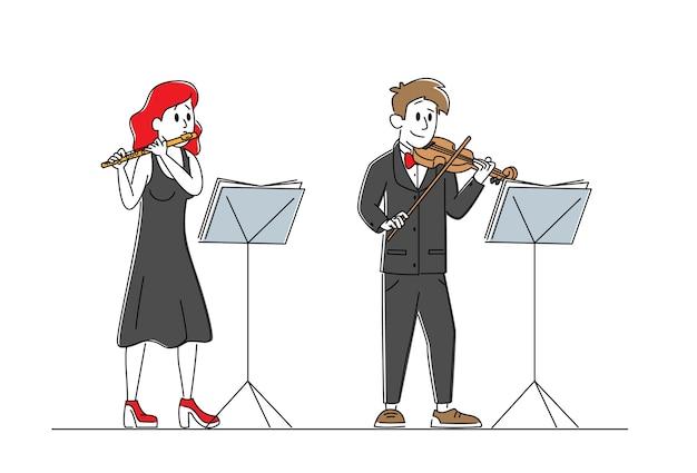Музыканты-персонажи с инструментами выступают на сцене со скрипкой и флейтой