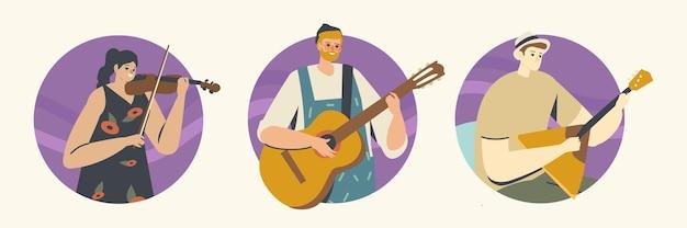현악기를 가진 음악가 캐릭터가 바이올린, 기타, 발랄라이카로 무대에서 공연합니다. 음악 콘서트, 필하모닉 현장 공연, 앙상블. 만화 사람들 벡터 일러스트 레이 션, 아이콘