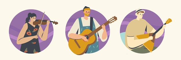 Musicians characters with stringed instruments perform on stage with violin, guitar and balalaika. music concert, performance on philharmonic scene, ensemble. cartoon people vector illustration, icons