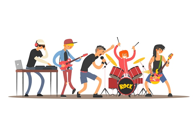 Musicians on a concert. illustration