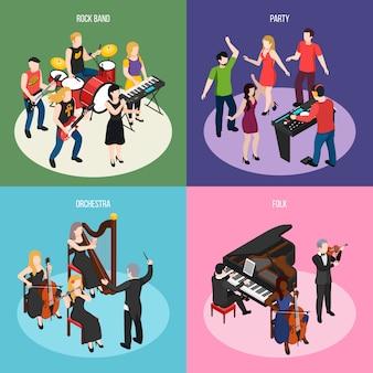 Музыканты изометрической концепции с рок-группой оркестра народной музыки и танцевальной вечеринки изолированы