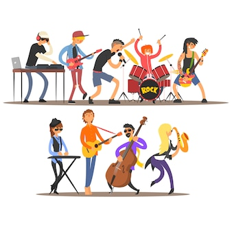 Musicians and mucical instruments. illustration