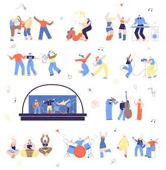 Musicians and music fans vector illustration set