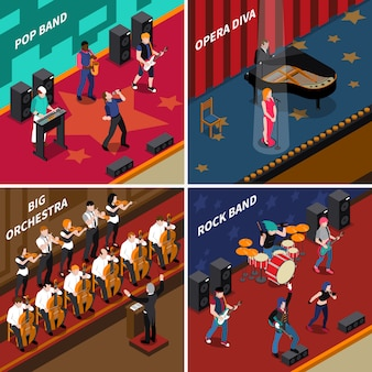 Musicians people isometric 2x2 icons set