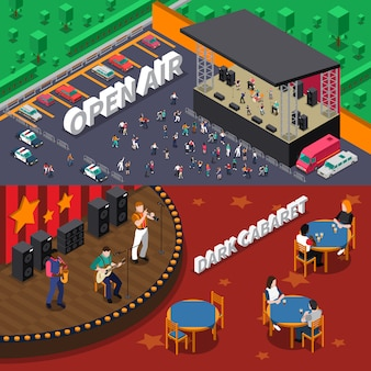 Musicians people isometric banners