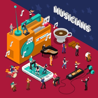 Musicians people isometric composition