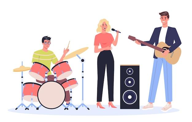 쇼 또는 콘서트를 공연하는 음악가. 젊은 밴드 연주 악기, 마이크와 함께 노래하는 여자. 창조적 인 직업.