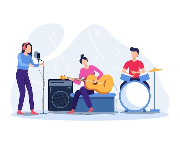 ミュージシャンは楽器を演奏します。バンドコンサートイラスト。フラットスタイルのイラスト